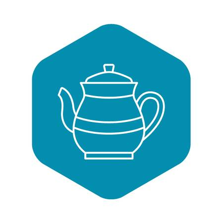 Tea pot icon. Outline tea pot vector icon for web design isolated on white background