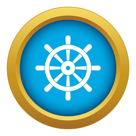 Wooden ship wheel icon blue vector isolated on white background for any design