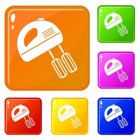 Electric mixer icons set collection vector 6 color isolated on white background