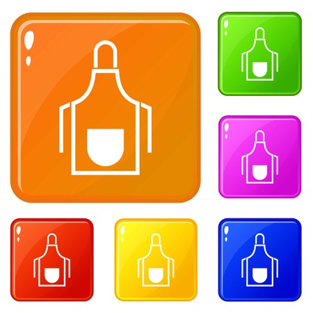 Kitchen apron icons set collection vector 6 color isolated on white background 일러스트