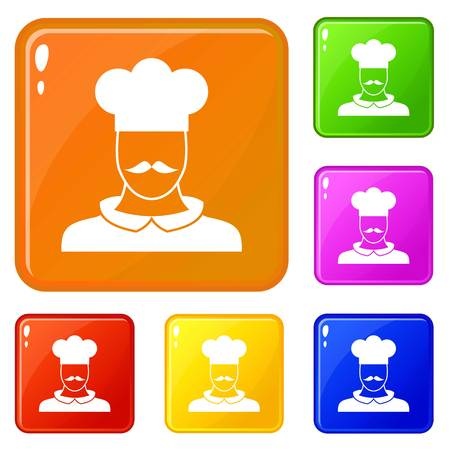 Male chef cook icons set collection vector 6 color isolated on white background