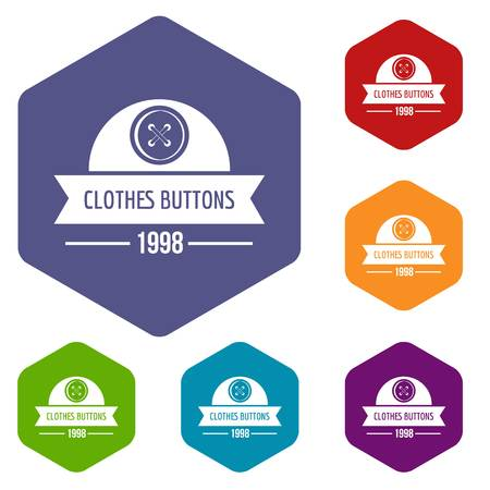 Clothes button design icons vector hexahedron 일러스트