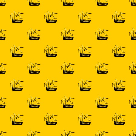 Ship of Columbus pattern seamless vector repeat geometric yellow for any design  イラスト・ベクター素材
