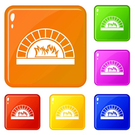 Pizza oven with fire icons set collection vector 6 color isolated on white background