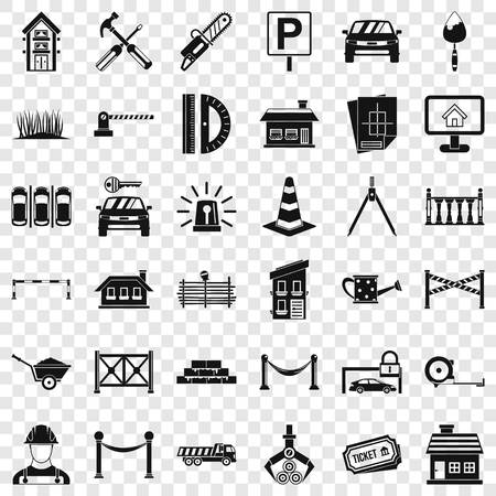 Fence icons set, simle style Ilustração