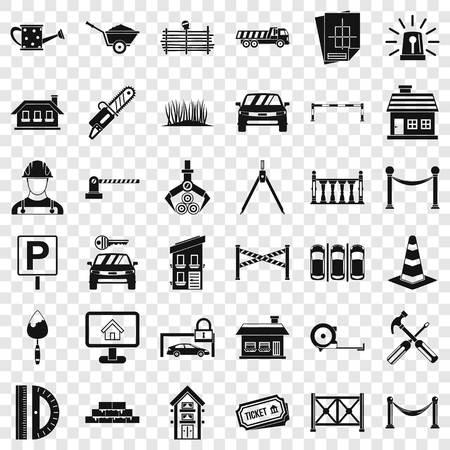Equipment icons set, simle style