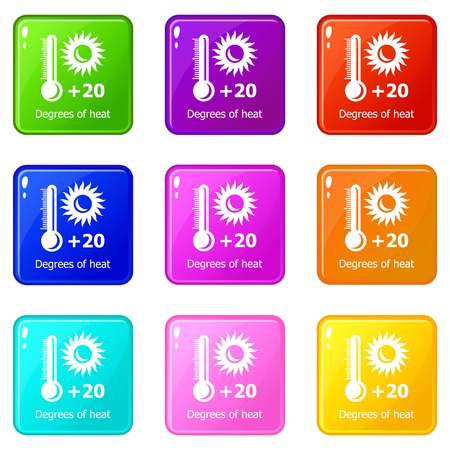 Heat icons set 9 color collection 写真素材 - 124598273
