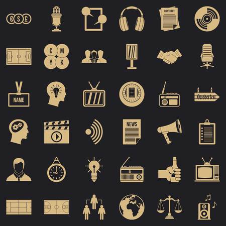 Multimedia means icons set, simple style