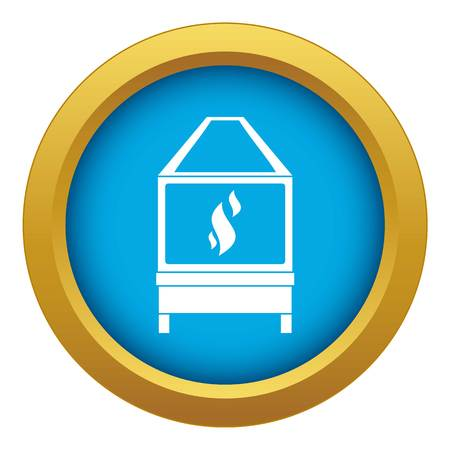 Blacksmith oven with flame fire icon blue vector isolated on white background for any design