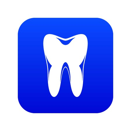 Human tooth icon digital blue Stock Vector - 124598332