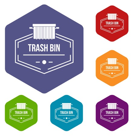 Bin container icons vector hexahedron