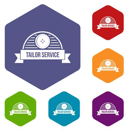 Tailor service icons vector hexahedron 일러스트