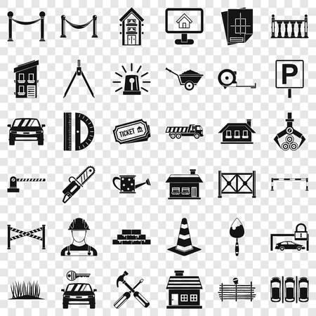 Building icons set, simle style