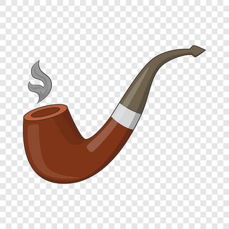 Wooden pipe icon. Cartoon illustration of wooden pipe vector icon for web design