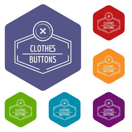 Clothes button craft icons vector hexahedron 일러스트