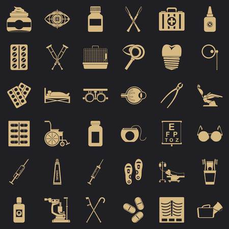 Curative icons set. Simple set of 36 curative vector icons for web for any design Illustration