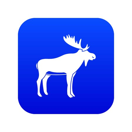 Deer icon digital blue for any design isolated on white vector illustration