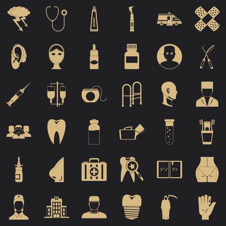 Pharmaceuticals icons set. Simple set of 36 pharmaceuticals vector icons for web for any design Illustration