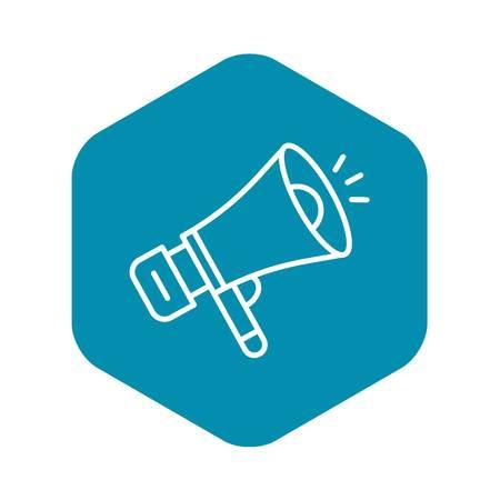 Media megaphone icon. Outline media megaphone vector icon for web design isolated on white background