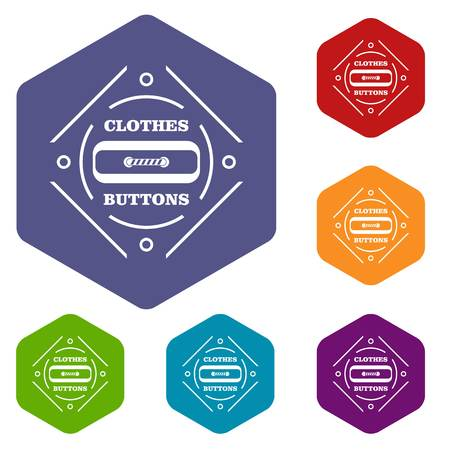Clothes button plastic icons vector hexahedron