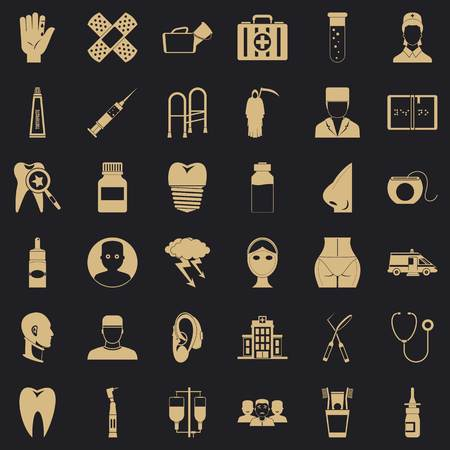 Holistic icons set. Simple set of 36 holistic vector icons for web for any design