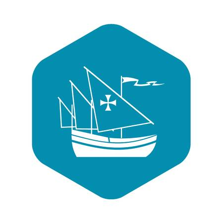 Ship of Columbus icon in simple style isolated on white background. Maritime transport symbol  イラスト・ベクター素材
