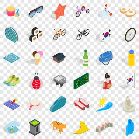 Clothing icons set, isometric style