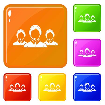 Customer support operators icons set vector color
