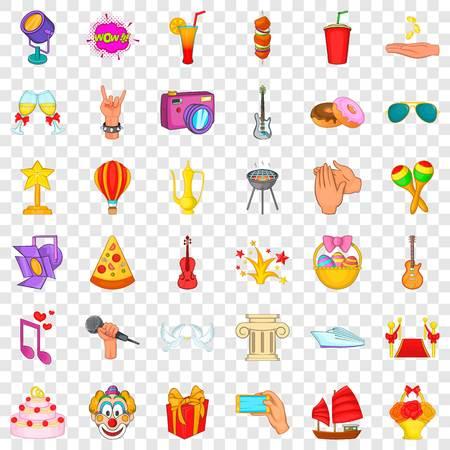 Festive icons set, cartoon style