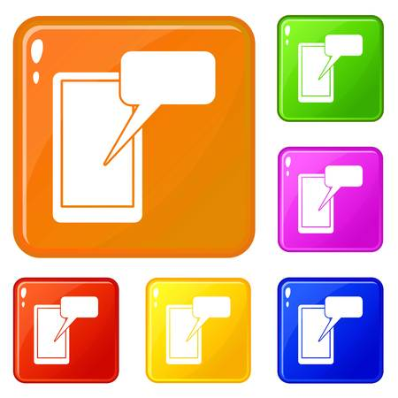 Mobile chatting icons set vector color Illustration