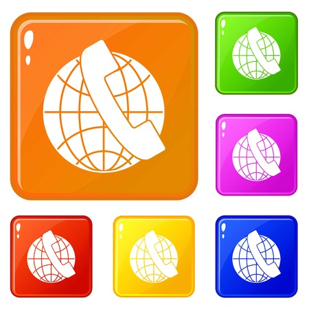 Handset and globe icons set vector color