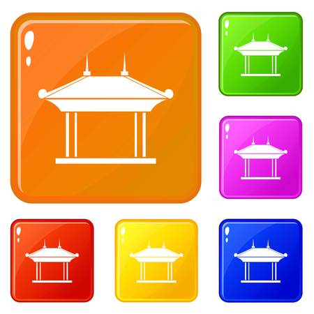 Pagoda icons set collection vector 6 color isolated on white background