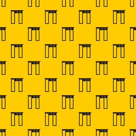 Security gate at entrance of airport pattern seamless vector repeat geometric yellow for any design Çizim