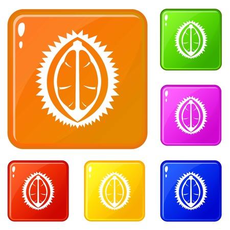 Durian fruit icons set vector color Standard-Bild - 125186841