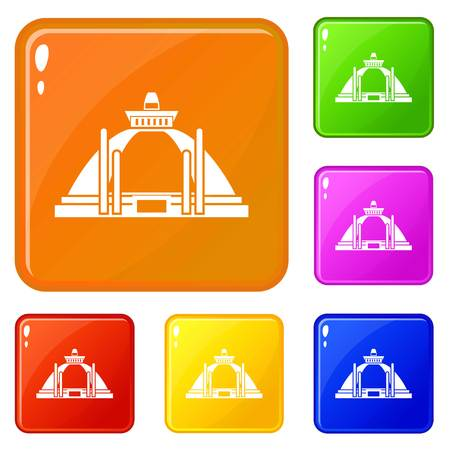 Polonnaruwa, ancient stupa icons set vector color Illustration