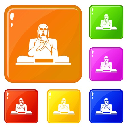 Buddha statue icons set vector color Illustration