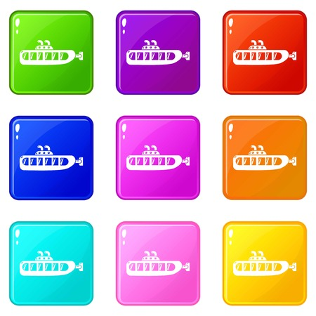 Submarine design icons set 9 color collection isolated on white for any design
