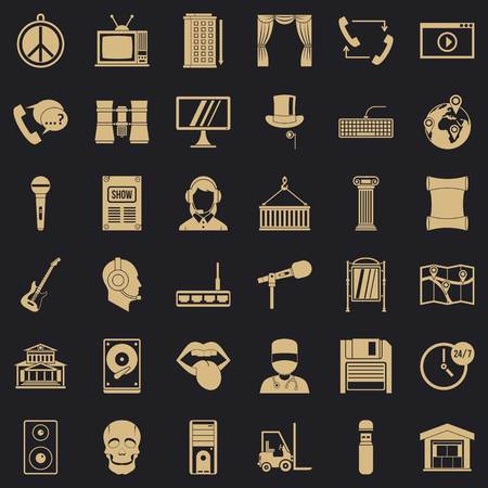 Hardware tech icons set. Simple set of 36 hardware tech vector icons for web for any design