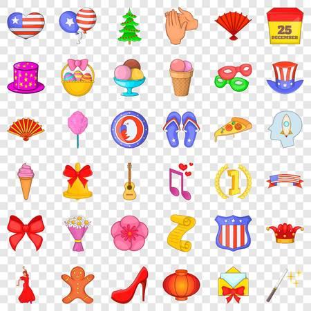 Christmas icons set, cartoon style Illustration