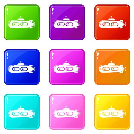 Submarine retro icons set 9 color collection isolated on white for any design
