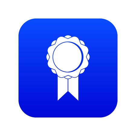 Rosette with ribbon icon digital blue for any design isolated on white vector illustration