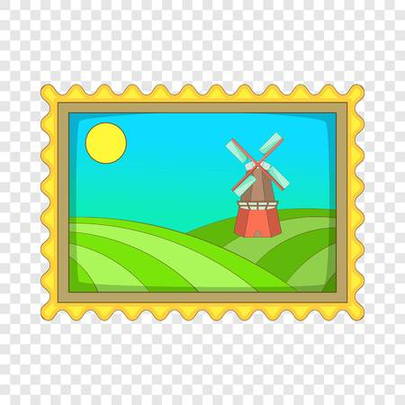 Picture with windmill icon. Cartoon illustration of picture with windmill vector icon for web design 向量圖像