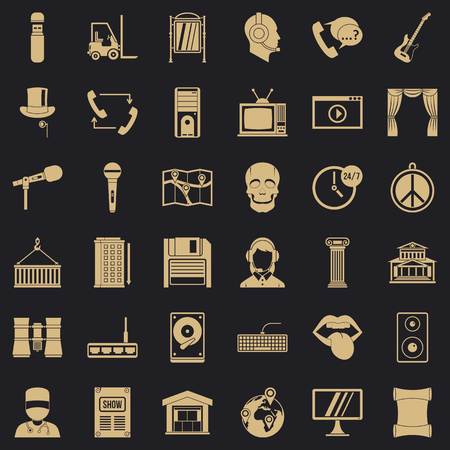 Tech widget icons set. Simple set of 36 tech widget vector icons for web for any design