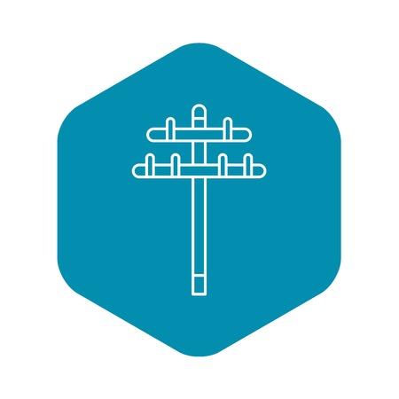 Icône de tour électrique en bois. Contours en bois tour électrique icône vecteur pour la conception web isolé sur fond blanc