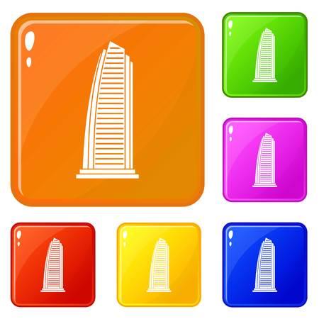 Grattacielo set di icone di raccolta vettore 6 colore isolato su bianco background