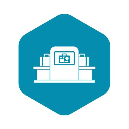 Airport baggage security scanner icon in simple style isolated on white background vector illustration