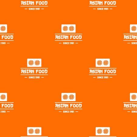 Traditional asian food pattern vector orange Illustration