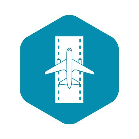 Airplane on the runway icon in simple style isolated on white background vector illustration Ilustração