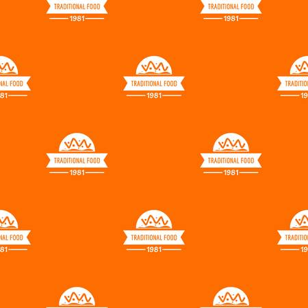 Traditional food pattern vector orange Illustration