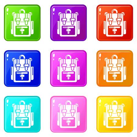 Backpack adventure icons set 9 color collection isolated on white for any design